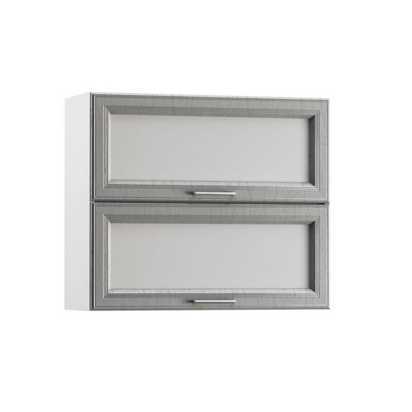 Милана Шкаф навесной 800 горизонтальный 2 витрины