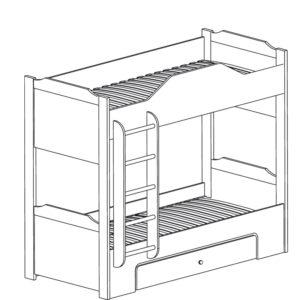 Леон» 543 Кровать двухъярусная с ящиком
