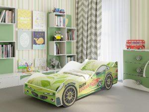Кровать-машина Вираж (зеленый)